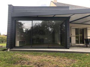 baie vitrée aluminium noir anthracite 3 vantaux